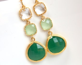 Green Earrings, Green Mint Earrings, Clear, Gold, Drop, Dangle, Bridesmaid Jewelry, Bridesmaid Earrings, Bridal Jewelry, Bridesmaid Gifts