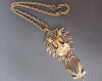 Vintage LION Pendant Necklace Big Bold Beautiful Happy Designer Signed ALAN