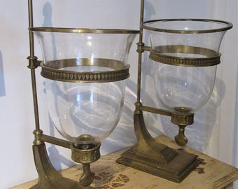 Pair of Grand Hurricane Lamps