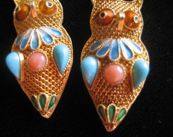 Chinese Vintage Silver Gold Plated dangling Owl Earrings, with Coral,Turquoise and enamel