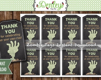 INSTANT DOWNLOAD: Zombie Thank You Tags, Halloween Party Thank You Tags,  Zombie Tags, Zombie Favors, Zombie Party (ZO02)