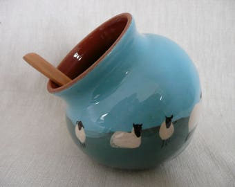 Salt pig Salt cellar Salt piglet with wooden spoon Sheep pig