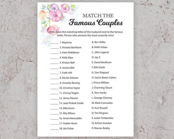 Celebrity couples lists