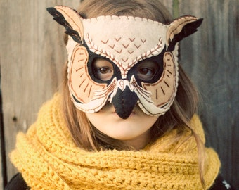 Owl Mask Handmade Felt Embroidered Details--Children Photography Prop Animal Costume Woodland Creature Forest Oatmeal Tan Black