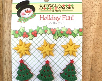 """Holiday Buttons, Christmas Trees and Stars,Novelty Buttons by Buttons Galore, """"Star of Wonder"""", Holiday Fun Collection, Carded Set of 6"""