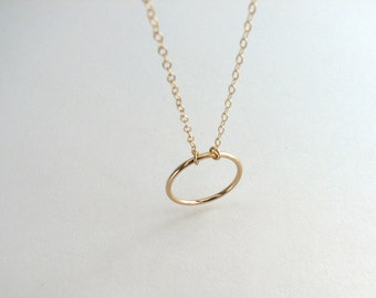 Simple Gold Circle Necklace, Gold Eternity Ring Necklace, Promise Necklace, Delicate Gold Ring Necklace, 14k Gold Fill - 14K Gold Fill Chain