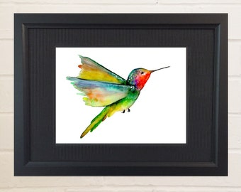 Humming Bird Painting, Watercolor Painting, Watercolor Print, Bird Art, Feather Art, Feather Watercolor, 8x10, 5x7, Humming Bird Picture