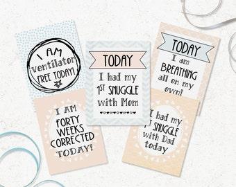 NICU Milestone Cards - Printable Preemie Milestones - DIY Preemie Gift - Neonatal Milestone Cards - Gender Neutral NICU Cards