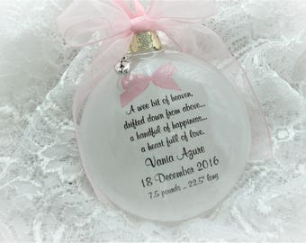 Birth of Baby Christmas Ornament Announcement - A Wee Bit of Heaven - Free Personalization and Charm
