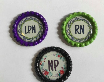 Lavender Nursing wreath #3 RN LPN NP Retractable id Badge Reel, lanyard, badge holder