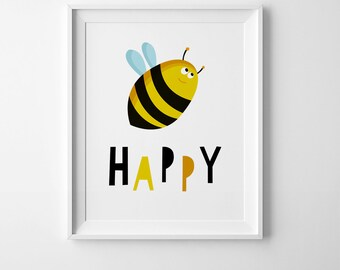 Bee happy nursery wall art, illustration print, playroom decor, wall art prints, nursery print, bee printable art, kids print playroom print