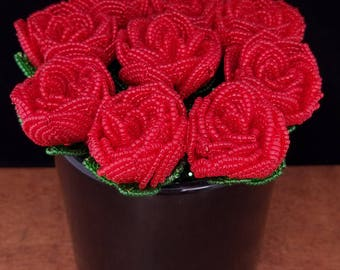 French beaded flowers - Rose bud bouquet