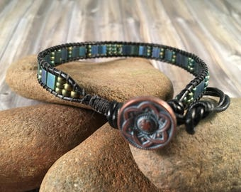 Bohemian Ladder wrap bracelet with Tila & Seed beads in Blue, Green and hints of Gold and with Copper Patina Button Closure