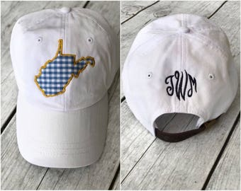 State Outline Cap with Monogram | West Virginia | ANY STATE |  Monogram Ball Cap | Monogram Cap | Monogram Hat | Monogrammed Cap