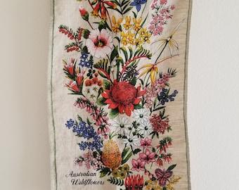 Vintage Linen Tea Towel Australian Flowers