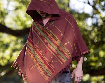 Handmade Brown Kashmiri Poncho with Hood, Earthy Tribal Pattern Festival Gypsy AJJAYA Mens Wear Winter Warm Primitive Nomadic Mexican