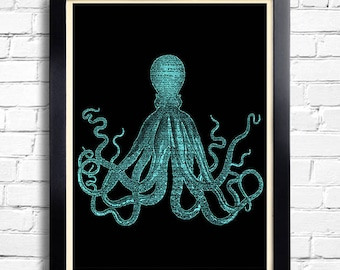 Octopus Squid Art Print BLUE Octopus Poster, Octopus Bathroom Wall Decor, Beach Home Art Print Squid Poster, Octopus Bathroom Wall Decal 101