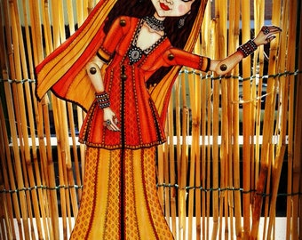 Gipsy woman from the Thar Desert,Articulated Paper Doll (already cut and assembled)