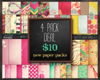 Digital paper, Digital Scrapbook paper pack - Instant download - 12 Digital Papers - 4 Pack