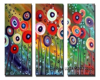 Original Abstract 72x72  Flowers Oil Painting Modern Art HUGE Painting Art by Luiza Vizoli