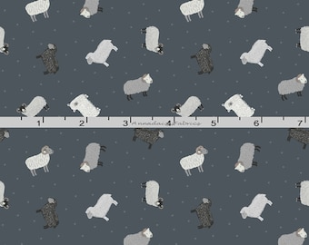 Tiny Gray Sheep Fabric, Lewis & Irene Fabric, Small Things on the Farm Fabric SM5.3 Small Print Sheep Quilt Fabric, Cotton Yardage