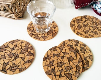 Coasters cork, Christmas gift, Round cork coasters, Drink coasters, Cork coasters, Housewarming gift, Set of 6 coasters, Cute gift Christmas