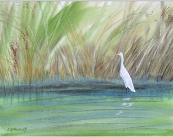 White bird Painting. Original Watercolor Ibis, long grasses, bird habitat, pond, marsh watercolour OOAK art. Signed 10x14 in. Not a Print!