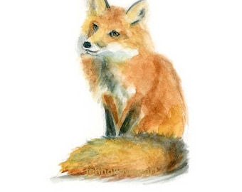 Watercolor Fox, Fox Painting, Fox Print, Fox Art, Fox Illustration, Fox Picture, Fox , Nursery Art, Woodland Art