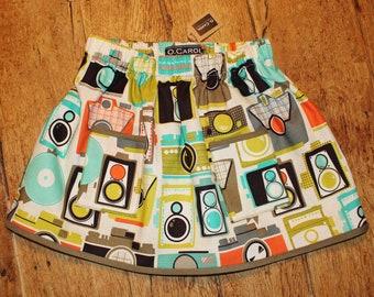"""Patti"" skirt (T.4 - 5years)-orange khaki green cotton - Look printed pattern retro camera, camera, with pockets - O.CAROL"