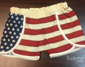 Scallop Shorts, Patriotic Shorts, July 4th Shorts, Red white and blue shorts, Festival Shorts, Stars & Stripes, Flag Shorts