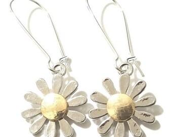 Daisy Flower Earrings with Kidney Earwire-Unique Earrings- Floral Earrings