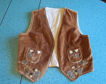 Vintage 60's/70's Brown Corduroy Vest With Appliqued Acorns, Small, Boho