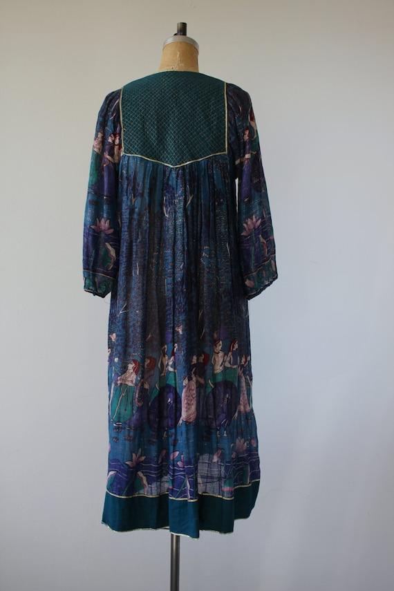 gauzy lotus dress boho dress dress 70s cotton 70s dress dress 70s vintage tent indian dress print 1970s 70s flower novelty peacock a7w4qn