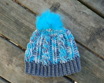 Light Blue and Gray Cable Hat