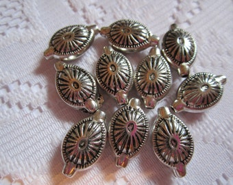 10  Antiqued Silver Etched Oval Acrylic Beads  19mm x 12mm
