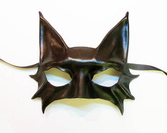 Little Black Cat Leather Mask costume entirely handcrafted lightweight and easy to wear Mardi Gras
