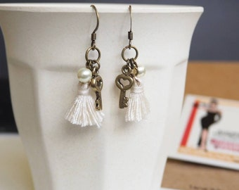 Handmade earrings with tussels, key charm, Swarovski pearls