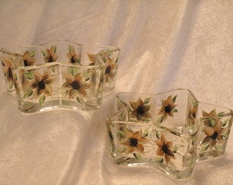 SUNFLOWER CANDY DISHES, star shaped, set of two
