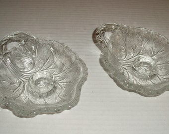 Pair of Indiana Glass Pebble Leaf Candlestick Holders