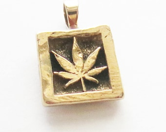 Mary Jane Leaf Bronze Pendant - Pot Grass Weed Pendant - Merry Jane Leaf Bronze Pendant - 420 Bronze Pendant - Square or Round  Pendant Gift