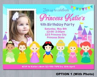 Princess Invitations, Princess Birthday Party Invitations, Princess Birthday party, girl invitation, Disney Princess Invitation