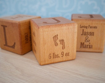 7cm Wooden Baby Block - Laser Engraved - Custom Personalised Beech Wood - New Baby Newborn Gift Christening Boy Girl