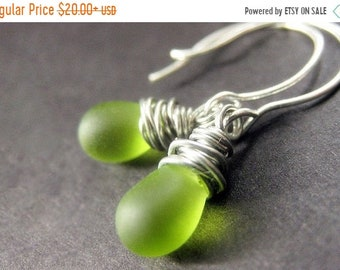 MOTHERS DAY SALE Teardrop Earrings, Green Earrings, Briolette Earrings in Glass. Silver Wire Wrapped. Handmade Earrings.
