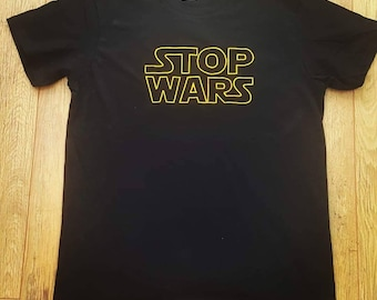 Stop Wars tshirts, vest tops and hoodies. Embroidered or embroidered and diamonte. Star wars inspired peace sign.