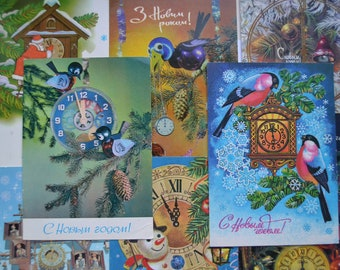 Lot of 8 used Soviet vintage postcards, Clock postcards, Birds, Christmas postcards, New Year, Christmas tree, Christmas illustration