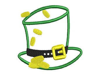 St Patricks Day Hat Machine Applique Embroidery Design  4x4 5x7 6x10  instant download