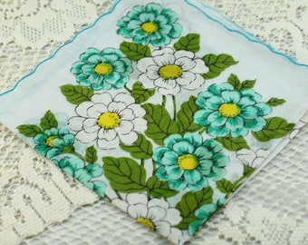Vintage Hankie, Turquoise and White Hankie, Sewing Quilting Collecting #A41