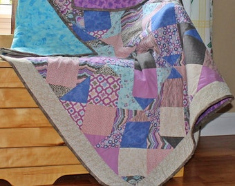 Modern Lap Quilt - Modern Throw Quilt - Lap Quilt - Nine Patch Quilt - Handmade Quilt - Homemade Quilt - Patchwork Lap Quilt - Throw Quilt