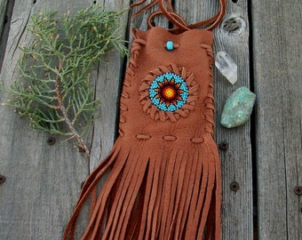 Fringed medicine bag with a beaded sunflower , Fringed amulet bag, Beaded medicine pouch