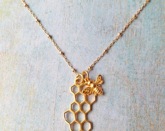 Gold Bee and Honeycomb Necklace Sterling Silver Bee and Honeycomb Necklace